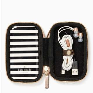 SALE Kate Spade Portable Charger and Headphone Earbud Gift Set Metallic Rose Gold Case