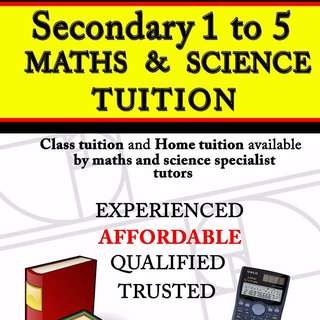 Specialised Secondary 1 to Secondary 5 Maths and Science Tuition Class