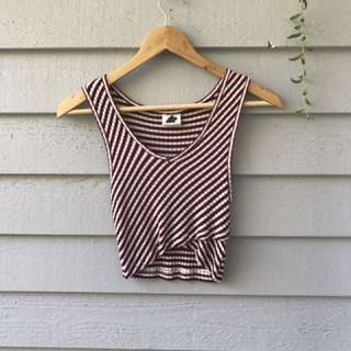 Stripe crop ribbed