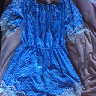 Blue and white mirrou playsuit