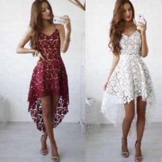Sexy lace maroon dress