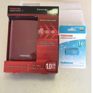 Toshiba 1TB Canvio® Connect Portable Hard Drive With 16gb flash drive