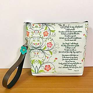 Handmade Pouch with Psalm 23 ~ ideal for Christian Friend.