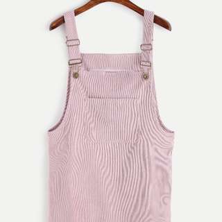 Corduroy Overall Dress With Pocket