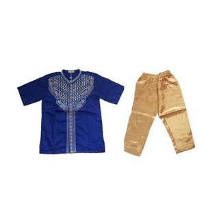 (B01279KH3) 3in1 koko kids happy biru (sudah termasuk atasan, celana dan peci) size kecil
