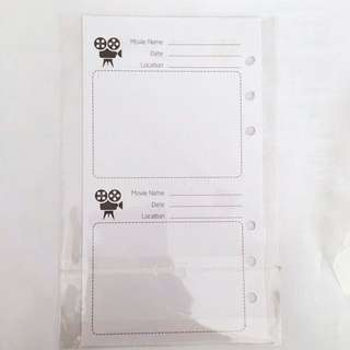 movie inserts for A6 planners( 5 pieces)
