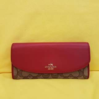 Coach F53538 Slim Envelope Wallet In Signature Coach Style深紅色經典信封長銀包