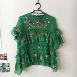 Zara Green floral top