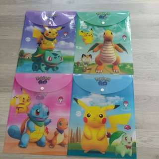 BRAND NEW POKEMON GO CHARACTERS A4 BUTTON FOLDER / FILE @ $1.50 PER PC OR ALL 4 DESIGNS FOR $5 ONLY!!!