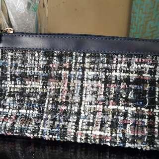 REPRICED- Preloved Tweed Pouch Navy Blue merk Sonia Miller