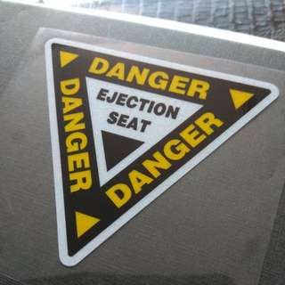 Danger Ejection Seat Pilot Tactical Sticker Decal