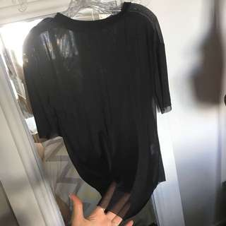 See through black t-shit