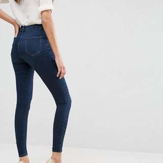 ASOS 'SCULPT ME' High Waisted Premium Jeans in Dark Wash Blue