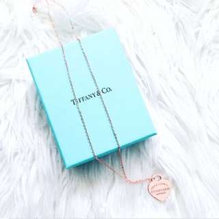 Tiffany And Co Rose Gold Heart Tag Pendant With Chain Rep