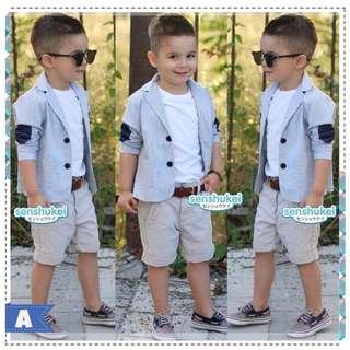 (b01434SEN4) 4in1 jas abu dalaman kaus putih celana krem+ikat pinggang coklat size kecil(SENSHUKEI