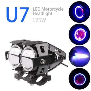 2PCS .  U7 LED Motorcycle Fog Light . Angle Eyes + Devil Eyes 12-80V