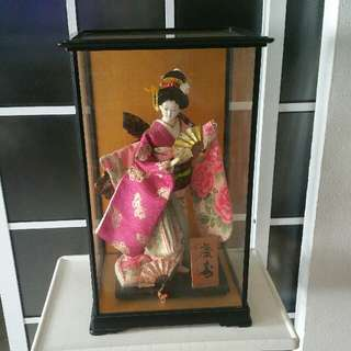 Authentic Japanese Heritage Doll In Silk Brocade Kimono