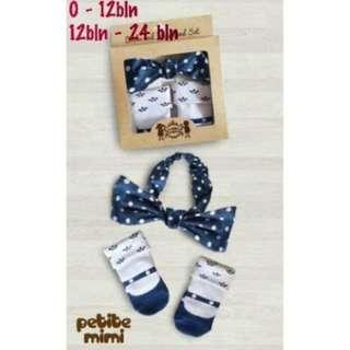 (p00328PET2) 2in1 kaos kaki putih bunga biru + headband biru polka (PETITE MIMI)