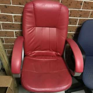 red leather swivel chair