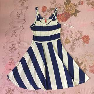 H&M Blue striped skater dress