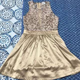 Gold Lace Dress Size 10