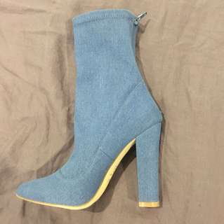 Verali Ibby blue denim zip boots paid $99.95