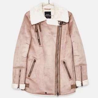OshareGirl 12 西班牙保暖麂皮絨毛騎士飛行夾克大衣外套