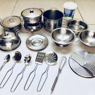 19 pcs Stainless steel toy kitchen set