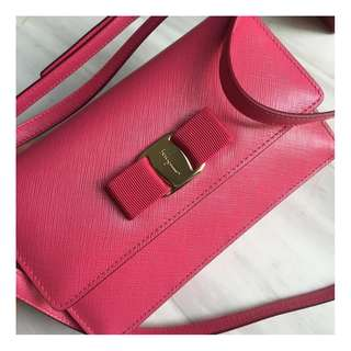 Salvatore Ferragamo Sling Bag/Dinner Clutch in Pink (Strap is Removable)