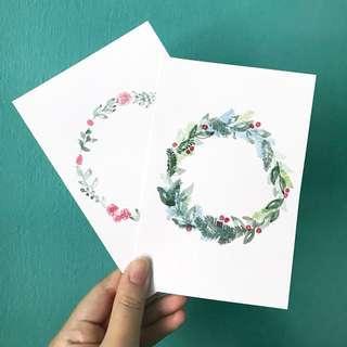 Handmade Watercolour Wreath Cards