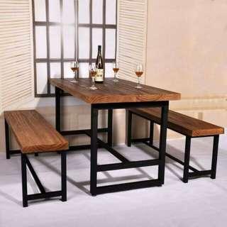 Rectangular table and chair with tubular steel leg