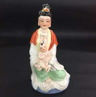 Vintage Dehua Coloured Porcelain Goddess of Mercy Carrying A Baby 德化彩送子观音