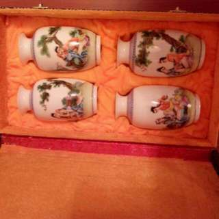 Chinese Vase Exotic Painting Set of Four