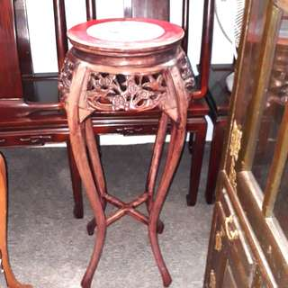 Rosewood marble top flower stand.