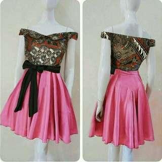 TiaCR Dresspinggang karet - Dress Batik - Dress Pita batik