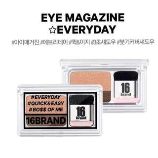韓國 16 Brand 2017 假期新上市 雙色眼影 豬肉餅乾脆笛酥 韓國代購