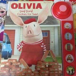 全新Olivia英文書、有聲書 (門鐘聲、開門聲、鑽地聲等等)