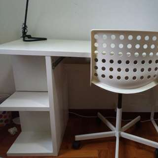 Desk, chair with table lamp combo