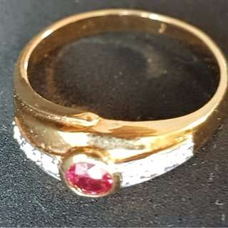 Gold Ring, Circular Design - Ruby with Diamonds