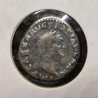 極罕有早期古羅馬銀幣!龐貝古城時代Vespasian皇帝公元70年Denarius銀幣
