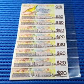 8X Singapore Bird Series $20 Note A/75 637158-637165 Run Dollar Banknote Currency