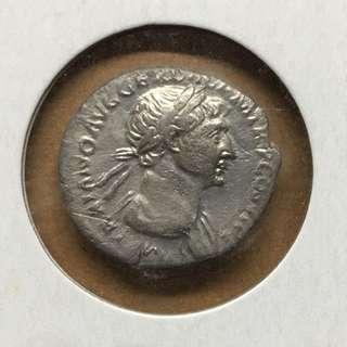 極罕有早期古羅馬銀幣!羅馬帝國最鼎盛時代Trajan皇帝公元112-114年Denarius銀幣