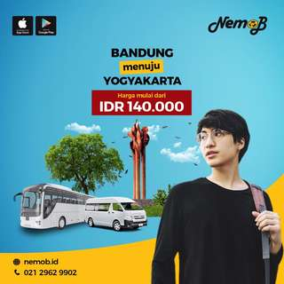 Promo tiket shuttle dan bus murah rute Jogja - Bandung dan sebaliknya. Hubungi Nemob.id