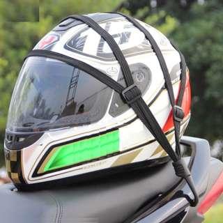 Motorbike helmet tie down strap