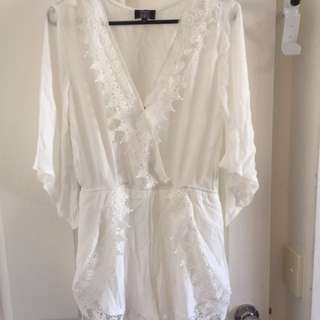 Size 10 white playsuit