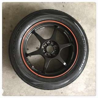 """17"""" Sport rim with 1 month old tires for sale. 215/55/17"""