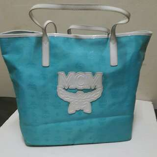 MCM Large Monogrammed Nylon Shopper Tote In Tercoise Blue