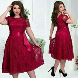 TiaCR Dress Melly Jumbo - Dress brukat pita - dress big size - Dress pita