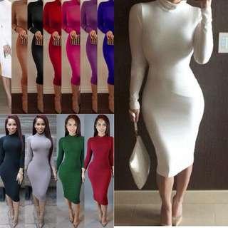S-2XL Bodycon Plain Simply Dress