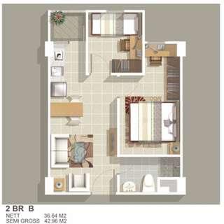 disewakan apartemen green bay 2BR Kosong tower E